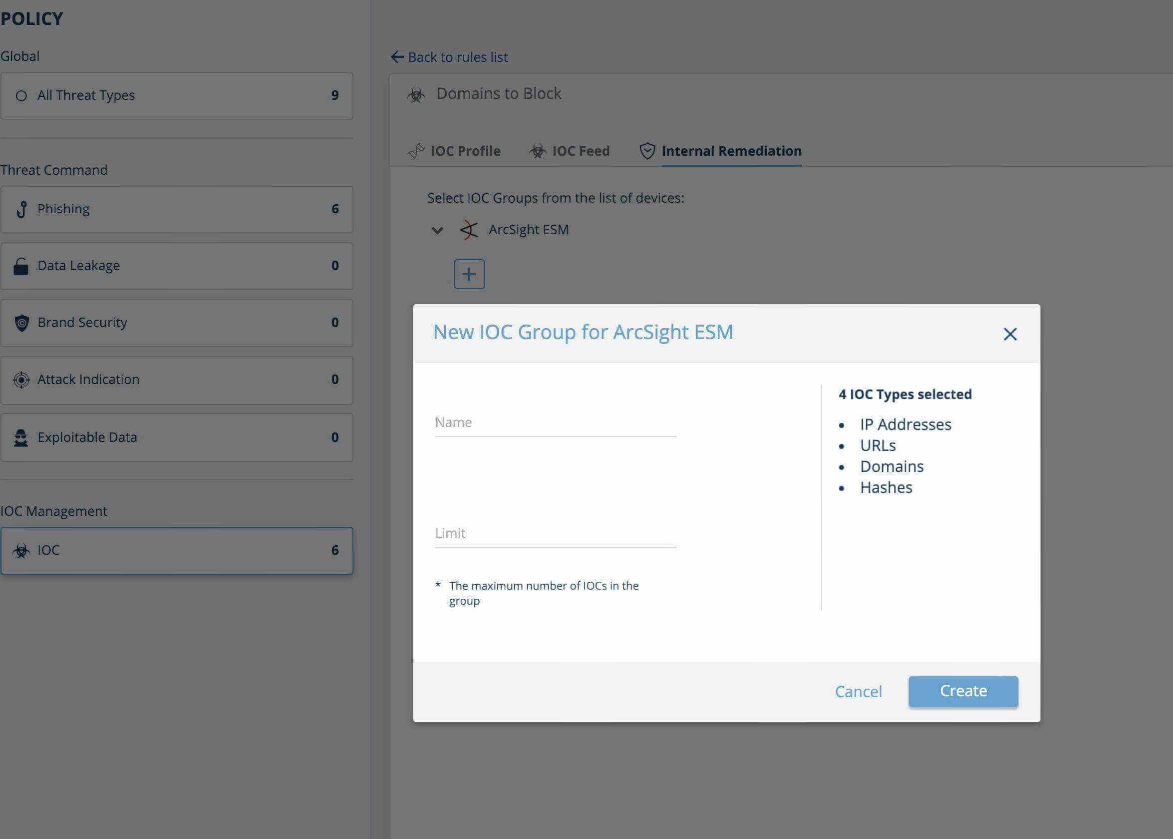 IntSights ArcSight ESM Policy Configuration