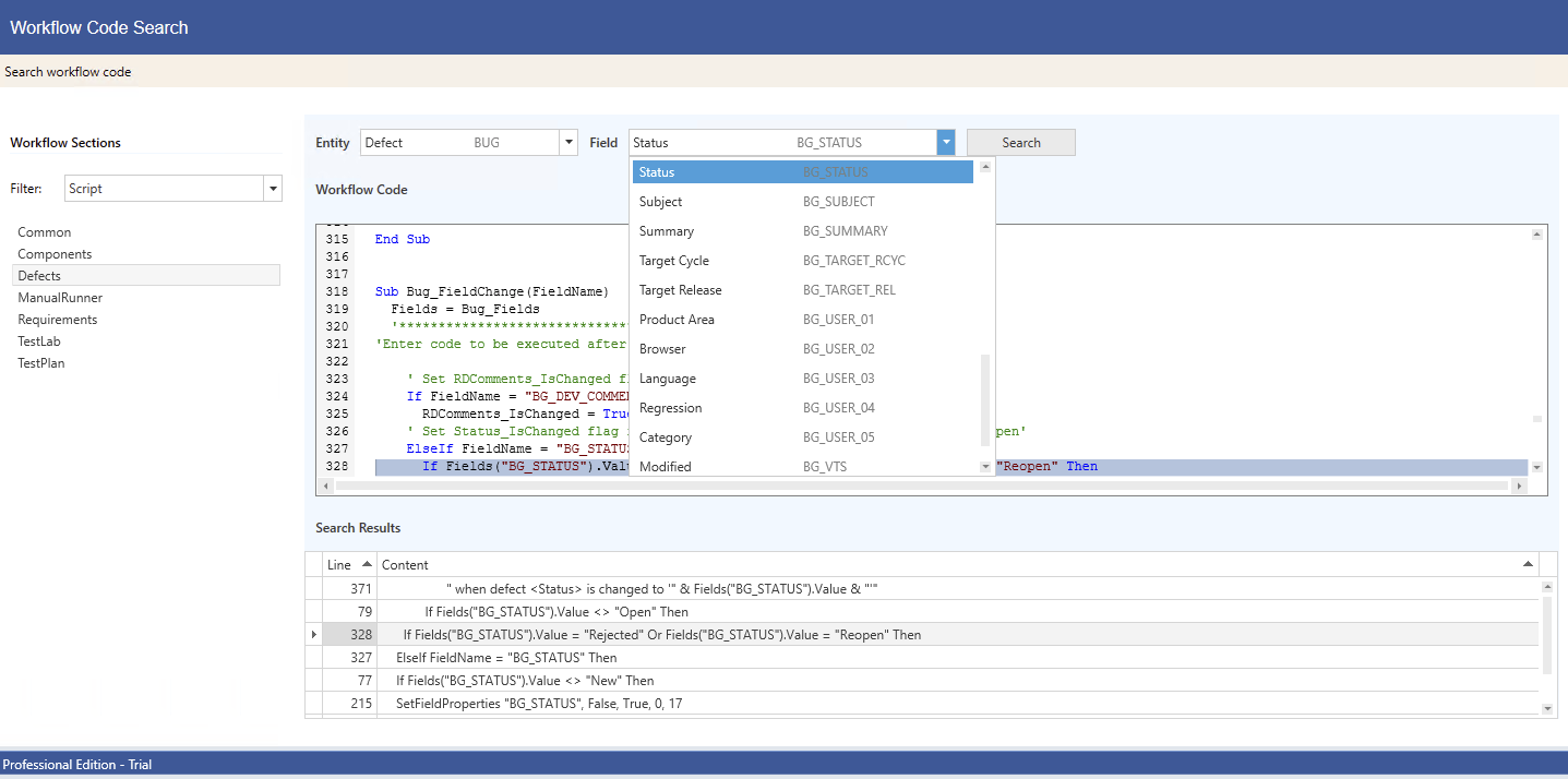 NEW! - Intelligent code search finds fields in your ALM code